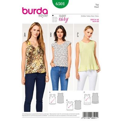 Top, Burda 6501 | 34 - 46
