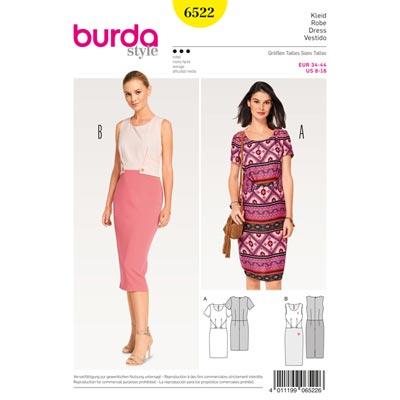 Kleid | Etuikleid, Burda 6522 | 34 - 44
