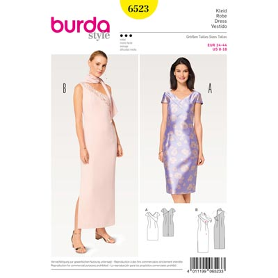 Abendkleid, Burda 6523 | 34 - 44