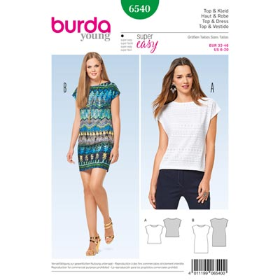 Top | Kleid, Burda 6540 | 32 - 46