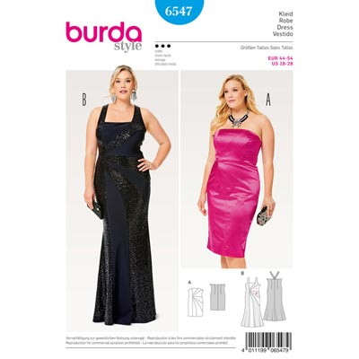 Plus Size - Cocktailkleid / Abendkleid, Burda 6547
