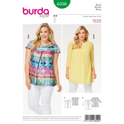 Plus Size - Bluse, Burda 6550 | 46 - 60