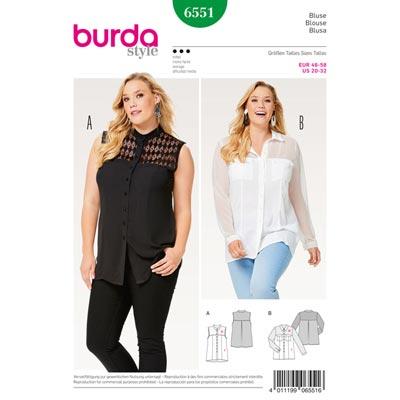 Plus Size - Bluse | Hemdluse, Burda 6551 | 46 - 58