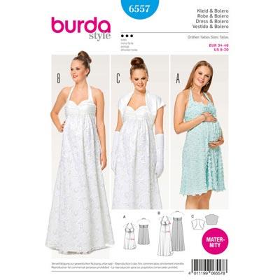 Umstandskleid | Brautkleid | Bolero, Burda 6557 | 34 - 46