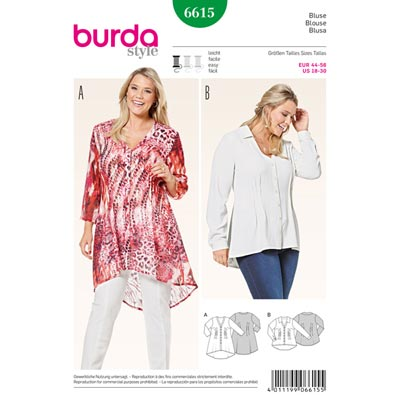 Plus Size - Bluse, Burda 6615 | 44 - 56