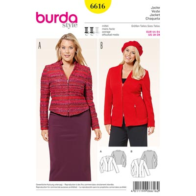 Plus Size - Jacke, Burda 6616 | 44 - 54