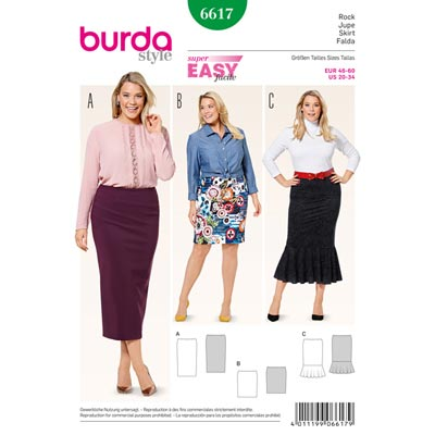 Plus Size - Rock, Burda 6617 | 46 - 60
