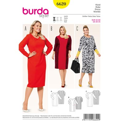 Plus Size - Kleid, Burda 6620 | 46 - 60