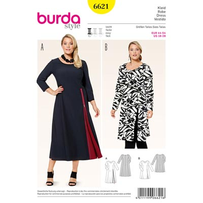 Plus Size - Kleid, Burda 6621 | 44 - 54