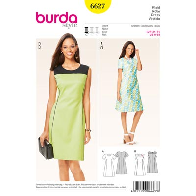 Kleid, Burda 6627 | 34 - 44