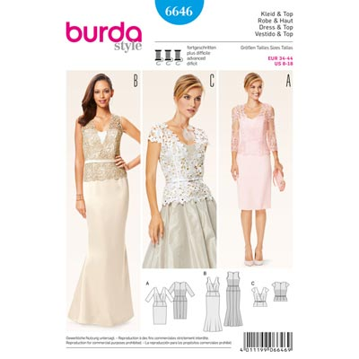 Kleid | Top, Burda 6646 | 34 - 44