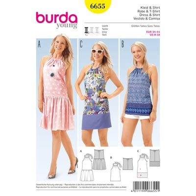 Kleid | Shirt, Burda 6655 | 34 - 44