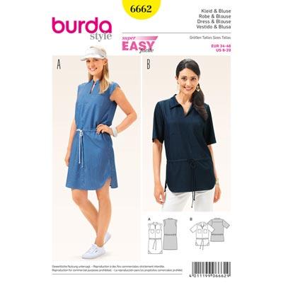 Kleid, Bluse, Burda 6662 | 34 - 46