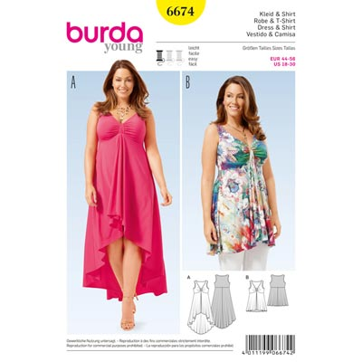Plus Size - Kleid, Shirt, Burda 6674 | 44 - 56