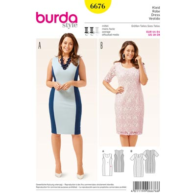 Plus Size - Kleid, Burda 6676 | 44 - 54