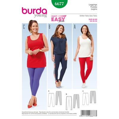 Plus Size - Leggings, Burda 6677 | 46 - 60
