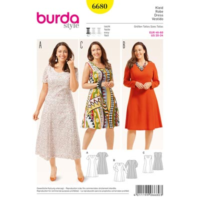 Plus Size - Kleid, Burda 6680 | 46 - 60