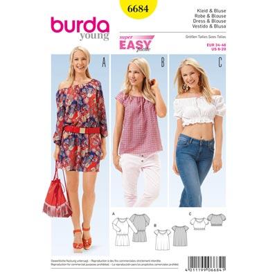 Kleid, Bluse, Burda 6684 | 34 - 46