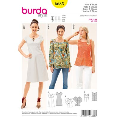 Kleid, Bluse, Burda 6685 | 32 - 44