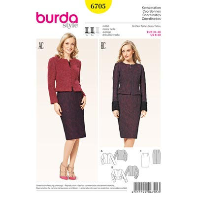 Kombination, Burda 6705 | 34 - 46
