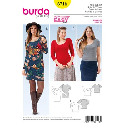 Plus Size Kleid | Shirt, Burda 6716 | 42 - 52