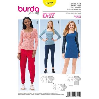 Shirt | Kleid, Burda 6722 | 32 - 42