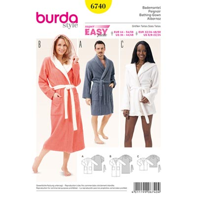 Bademantel, Burda 6740 | 32/34 - 48/50