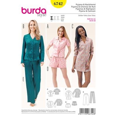 Pyjama | Nachthemd, Burda 6742 | 36 - 44