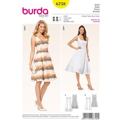 Kleid, Burda 6758 | 34 - 44