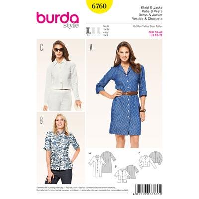 Kleid | Jacke, Burda 6760 | 36 - 48