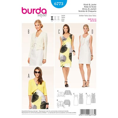 Kleid | Jacke, Burda 6773 | 34 - 44