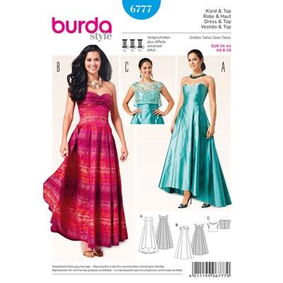 Abendkleid / Korsagenkleid, Burda 6777