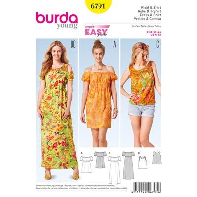 Kleid | Shirt, Burda 6791 | 32 - 44
