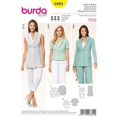 Blazer | Weste, Burda 6801 | 36 - 46