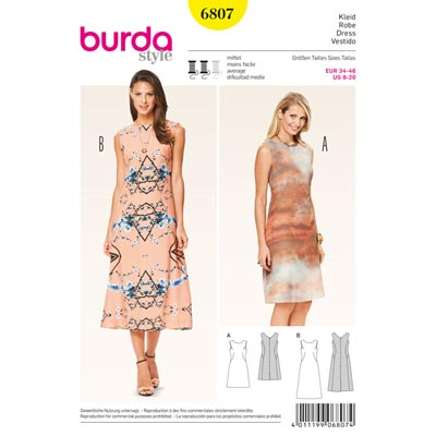Kleid, Burda 6807 | 34 - 46