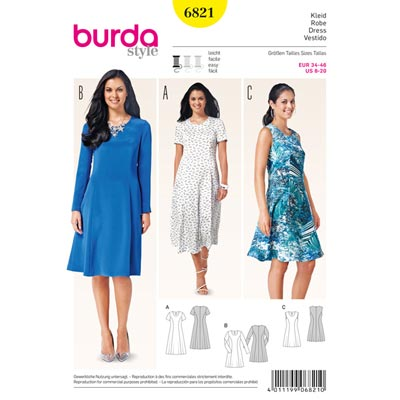 Kleid, Burda 6821 | 34 - 46