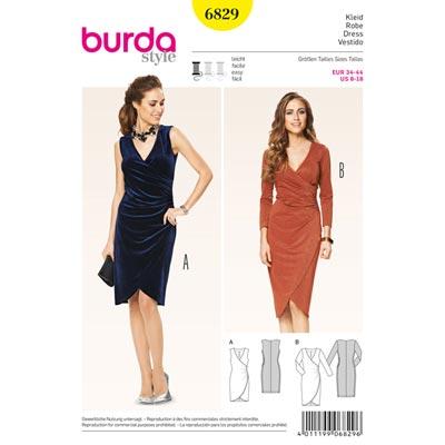 Kleid mit Wickeloptik, Burda 6829 | 34 - 44