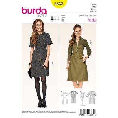 Kleid mit Schulterpatches, Burda 6832