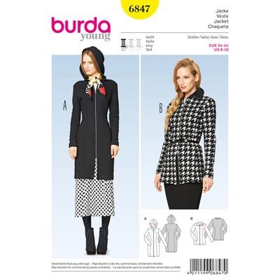 Reißverschlussjacke – Kapuze, Burda 6847 | 34 - 44
