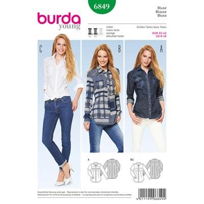 Bluse, Burda 6849 | 32 - 42