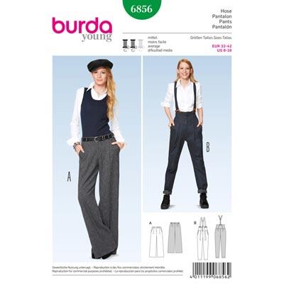 Hose mit Bundfalten | Marlene-Hose, Burda 6856 | 32 - 42