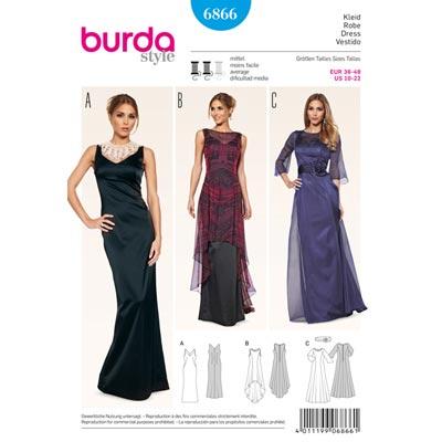 Abendkleid | Überkleid, Burda 6866 | 36 - 48