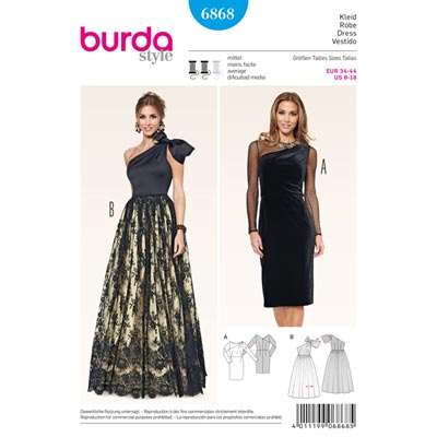 Abendkleid | Abendrobe, Burda 6868 | 34 - 44
