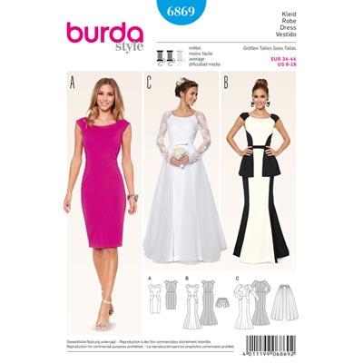 Brautkleid | Abendkleid | Überrock, Burda 6869 | 34 - 44