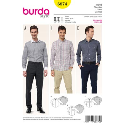 Herrenhemd, Burda 6874 | 44 - 60