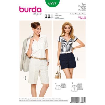 Bermudas | Shorts – mit Aufschlag, Burda 6897 | 34 - 46