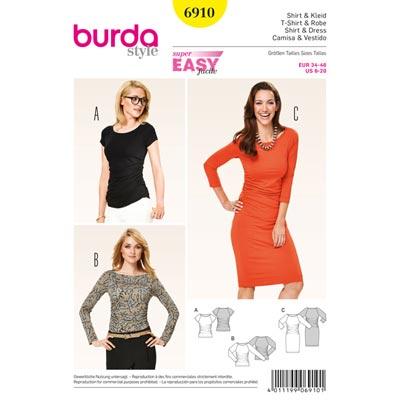 Shirt | Kleid – Raglan-Ärmel, Burda 6910 | 34 - 46