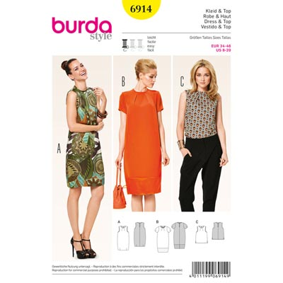 Kleid | Top, Burda 6914 | 34 - 46