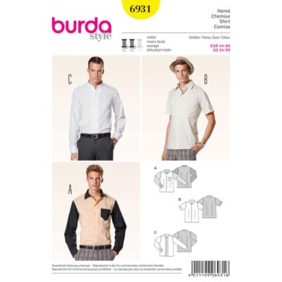 Herrenhemd, Burda 6931 | 44 - 60