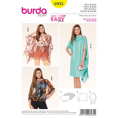 Shirt | Kaftan | Tunika, Burda 6935 | 32/34 - 56/58
